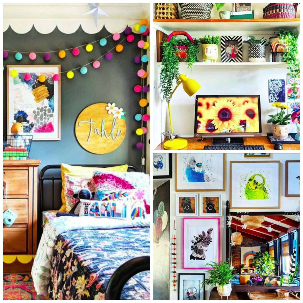 Unique colorful boho home decor crafty hectic eclectic home tour dig and hang