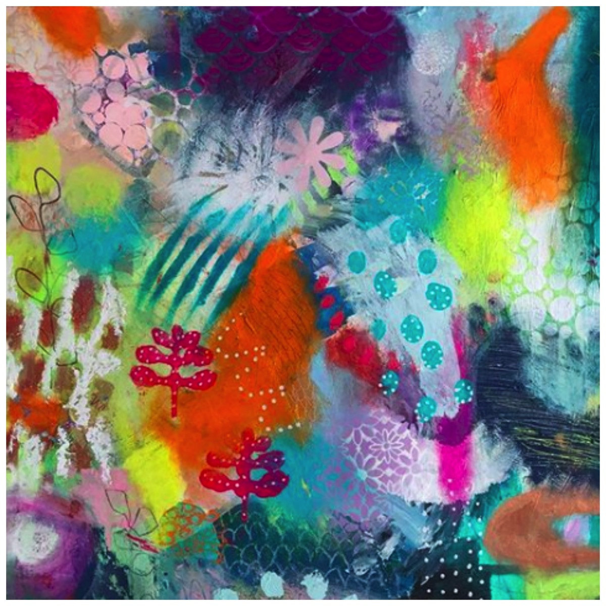 Sussane kurwig colorful mixed media art floral spring colors