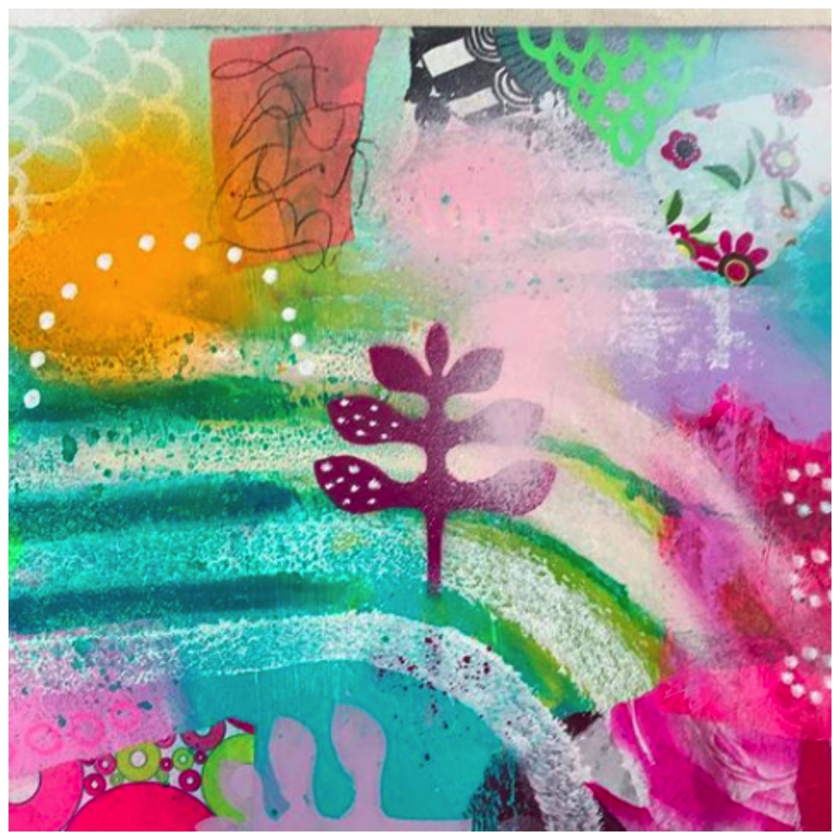 Sussane kurwig colorful mixed media art pink floral