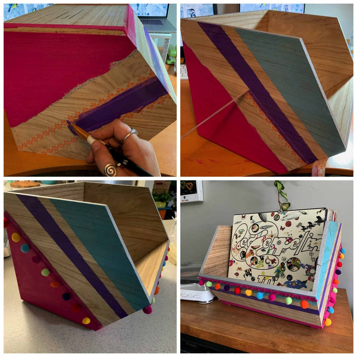 Colorful boho record holding box painting tutorial