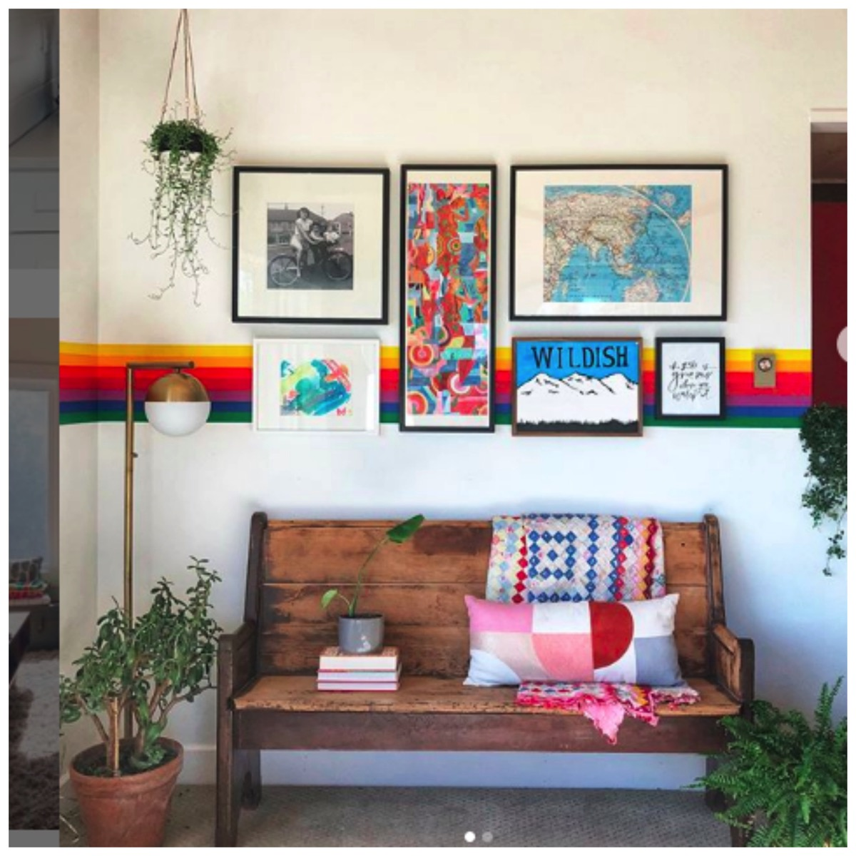 Rainbow wall painting with gallery wall banyan bridges home feature dig and hang