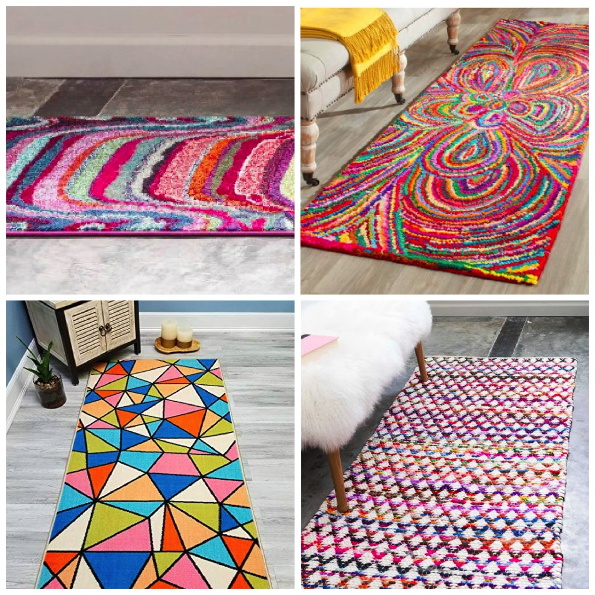 Geometric colorful runner area rug for home unique and colorful
