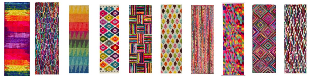The most vibrant fun colorful rainbow unique area runner rugs for your home bedroom office kids room and hallway