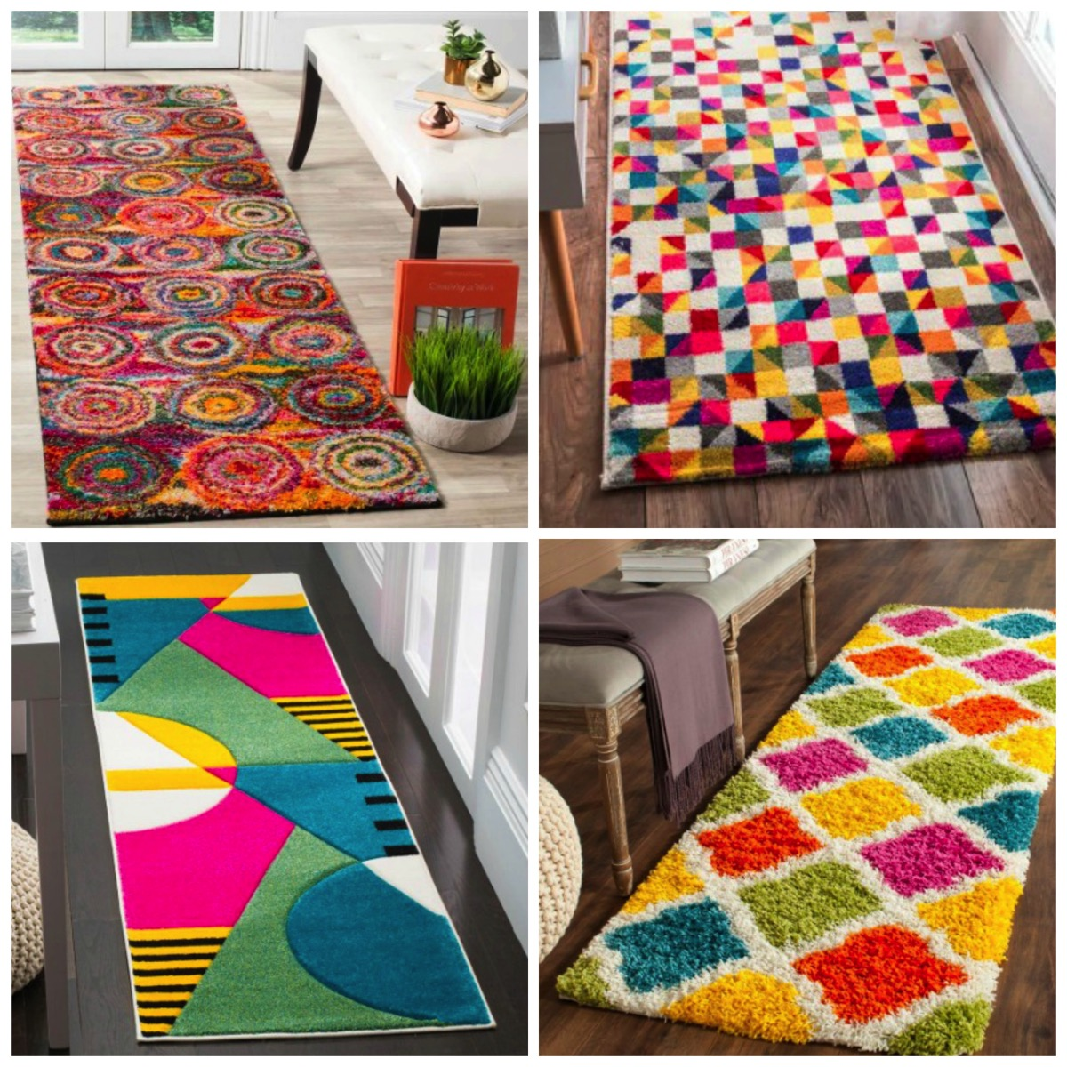 Unique colorful and funky area runner rugs for home