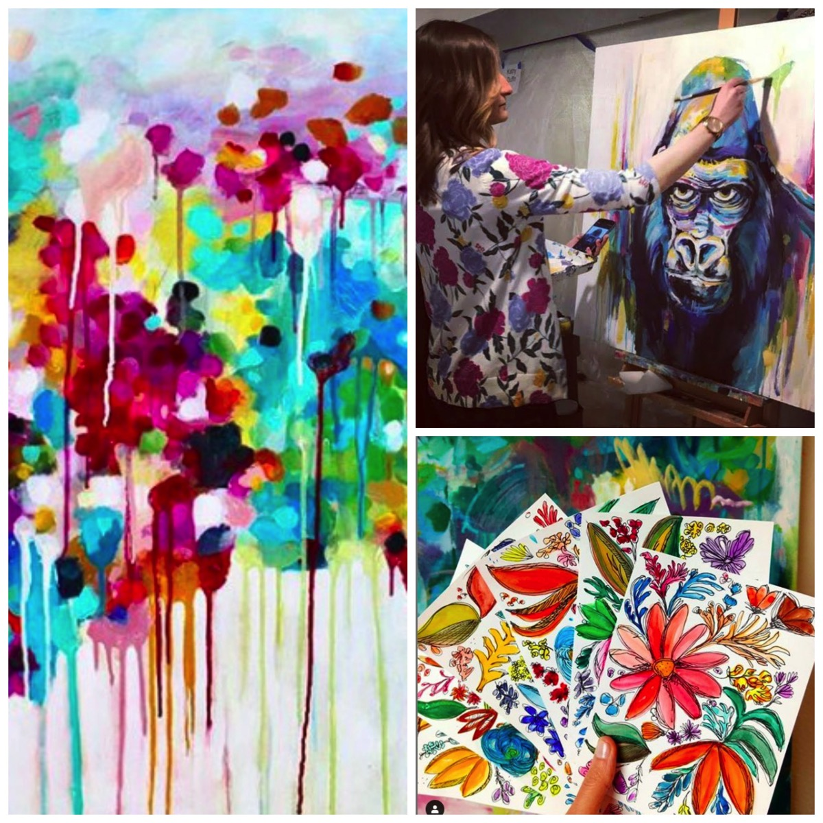 Colorful abstract art painting jessica hitchcock