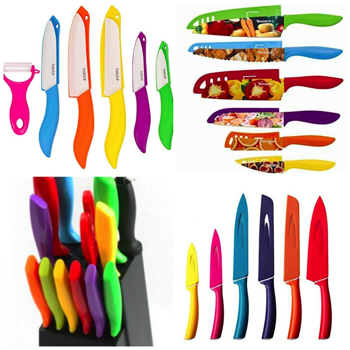 Colorful rainbow unique knife sets for kitchen