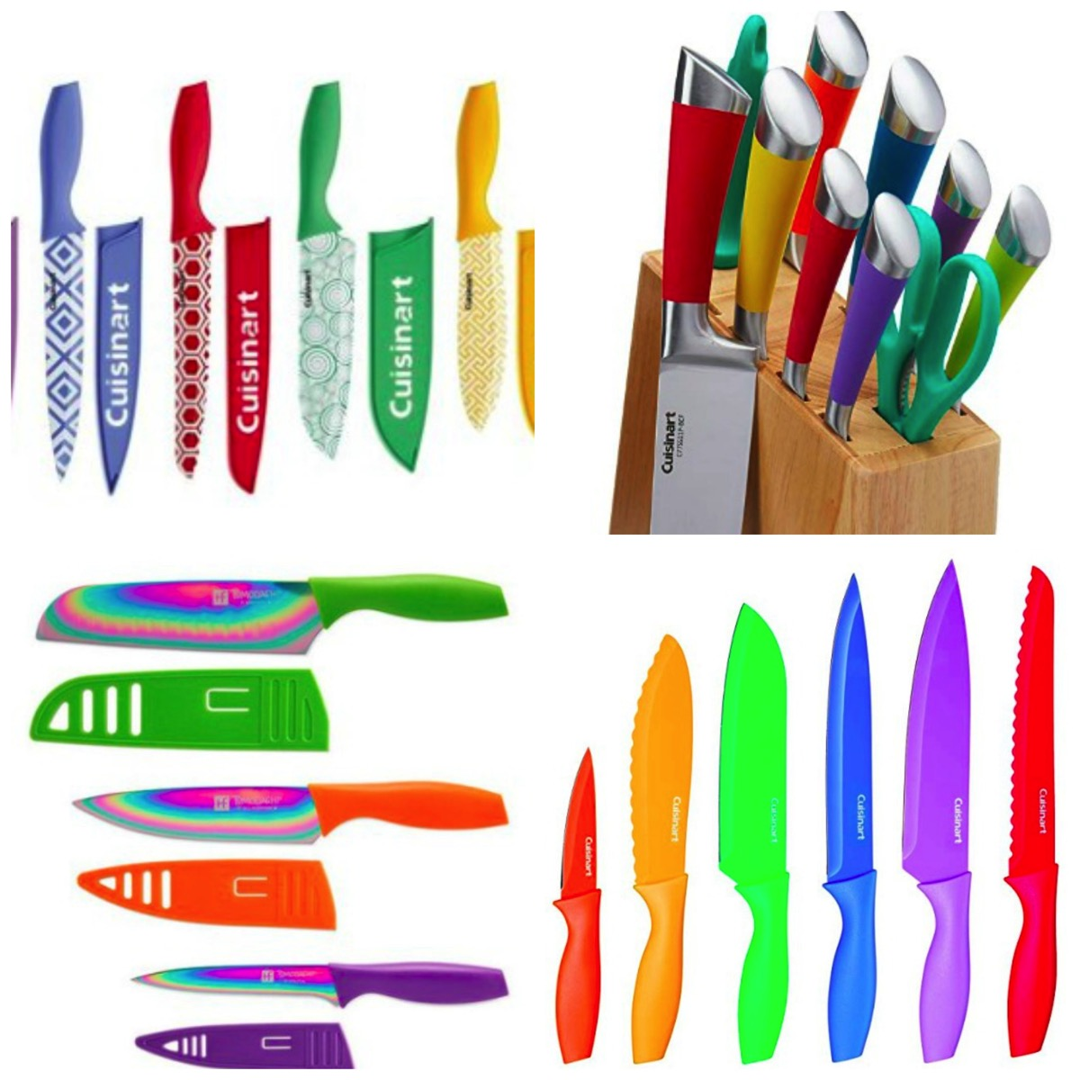 Rainbow colored kitchen knife kits colorful kitchen knives