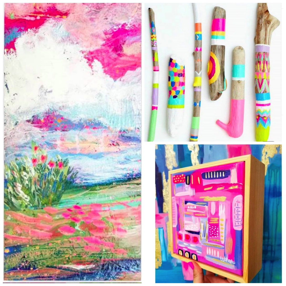 Esther Mccord rainbow abstract artwork paintings for home