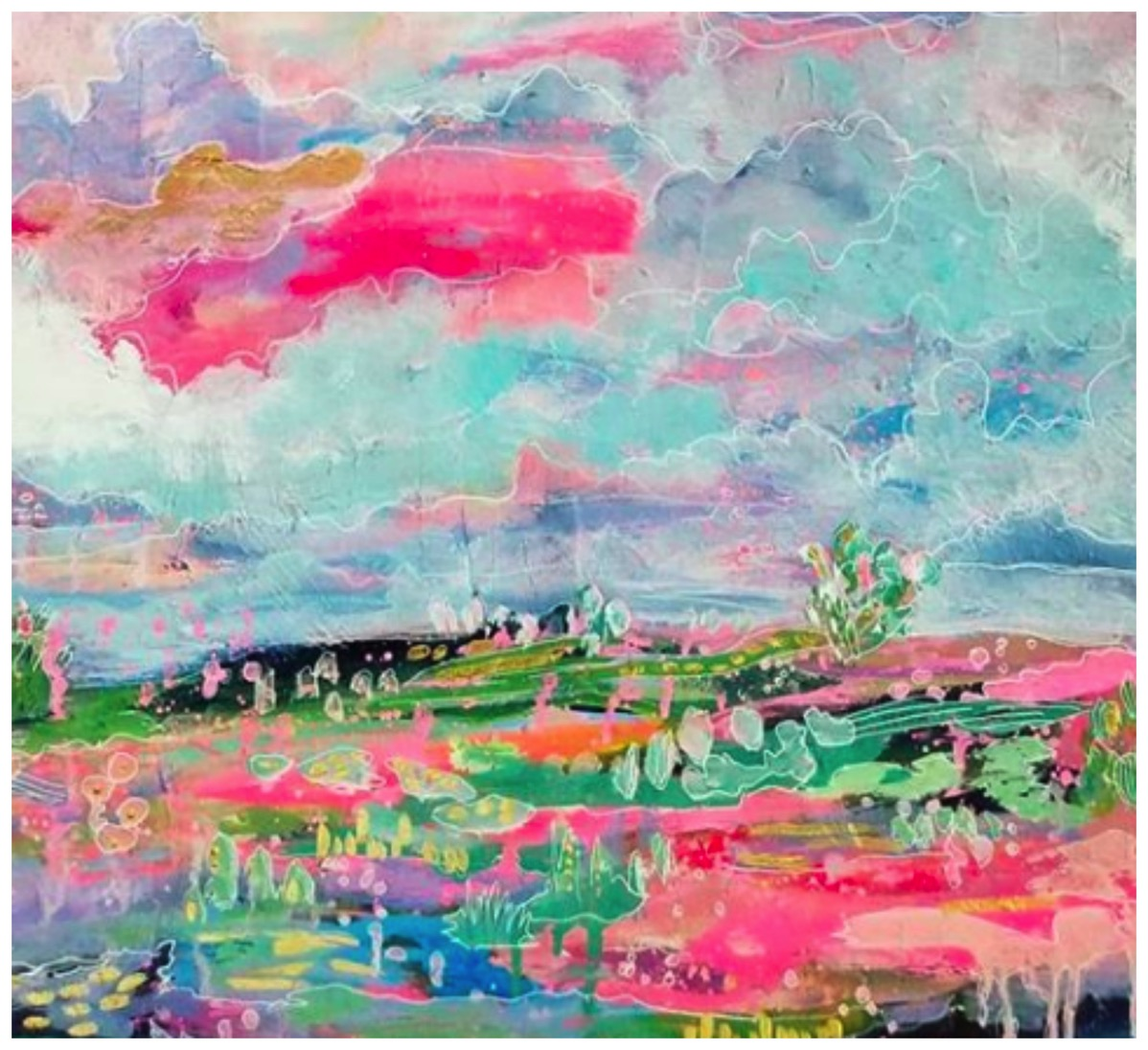 Abstract pastel colorful landscape painting esther mccord