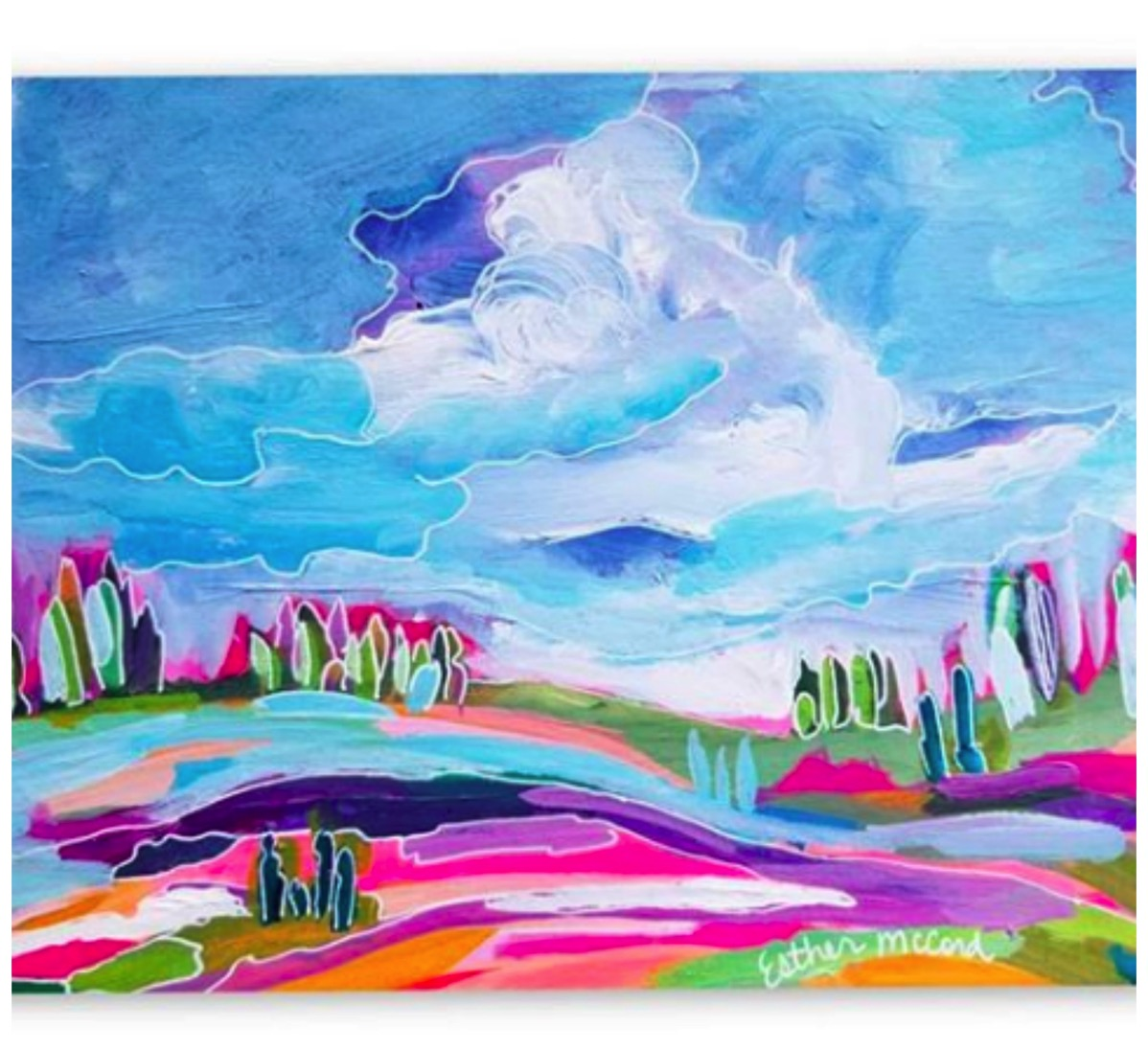 Pastel pink and blue landscape painting abstract esther mccord painting