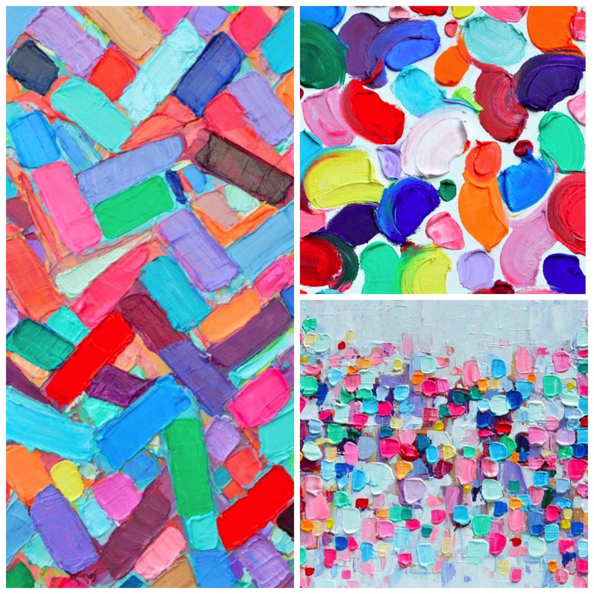 Rainbow colored abstract art painting and prints for home by Ann Marie Collick