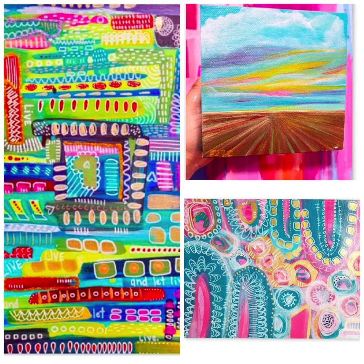 Rainbow colored abstract original paintings for home