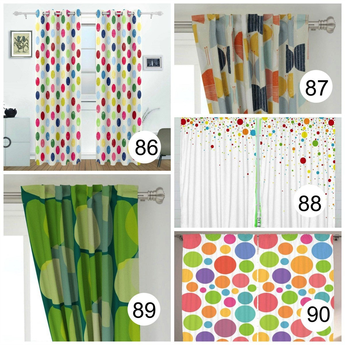 Colorful Polka Dot Window Curtains colorful and bold
