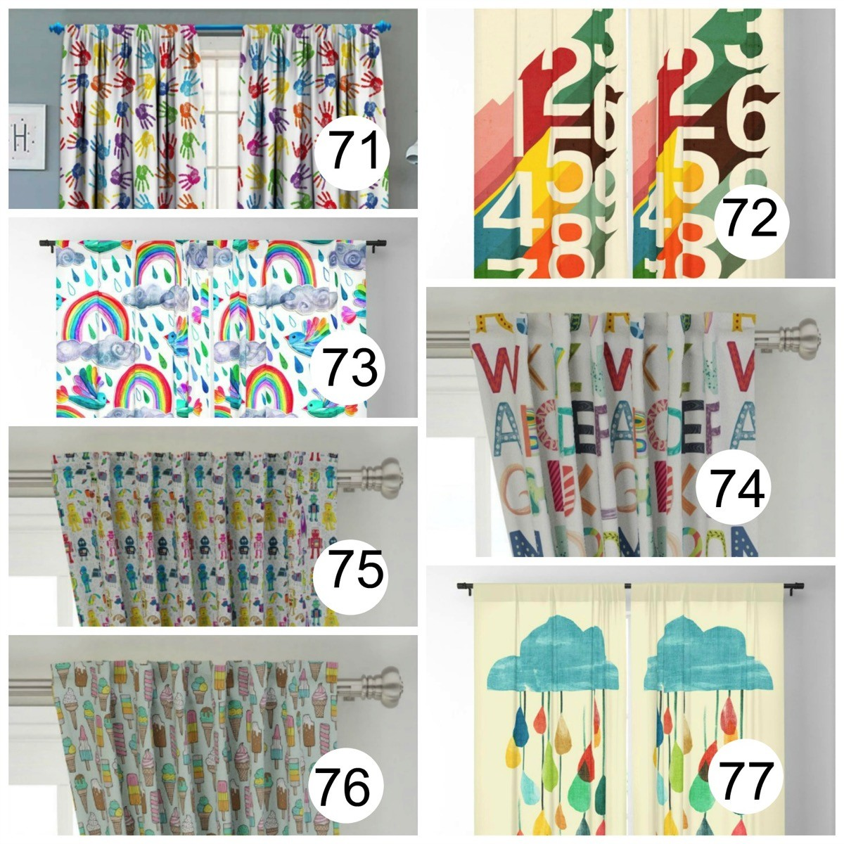 Kids Colorful Window Curtains