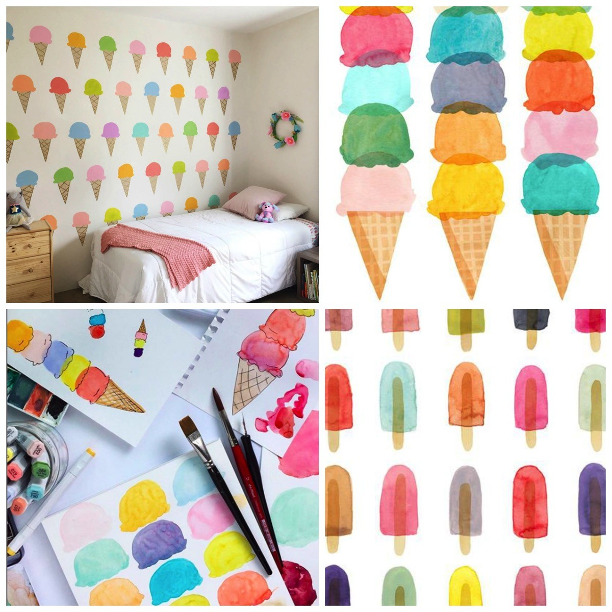 Natalie Lundeen colorful ice cream popsicle illistration