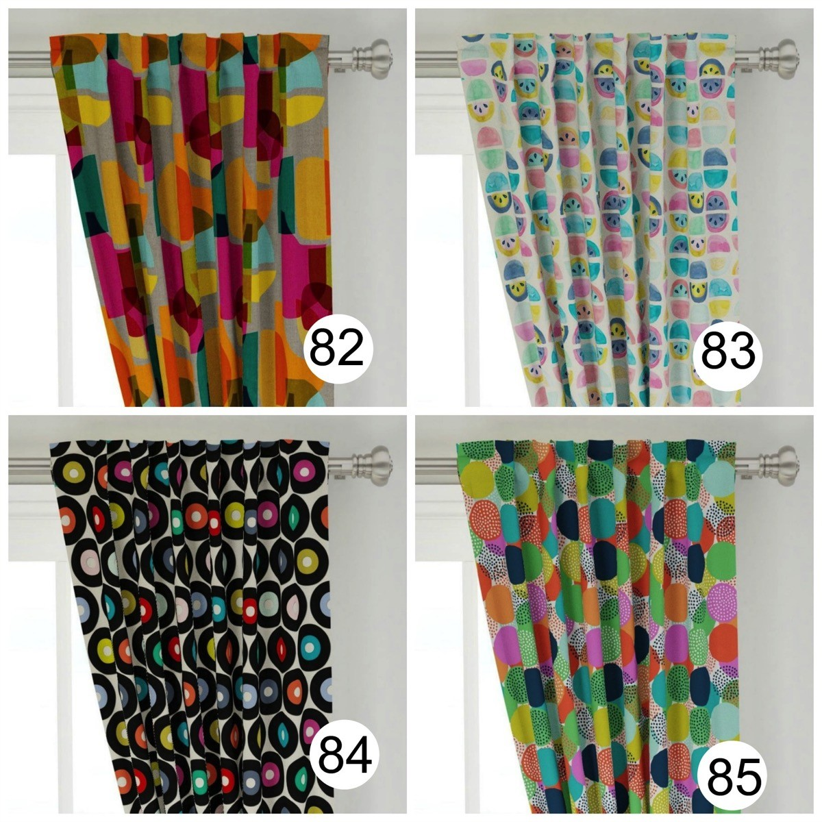 Colorful polka dot window curtains unique bright