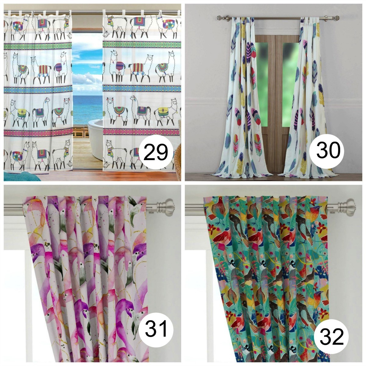 Colorful window curtains Animals