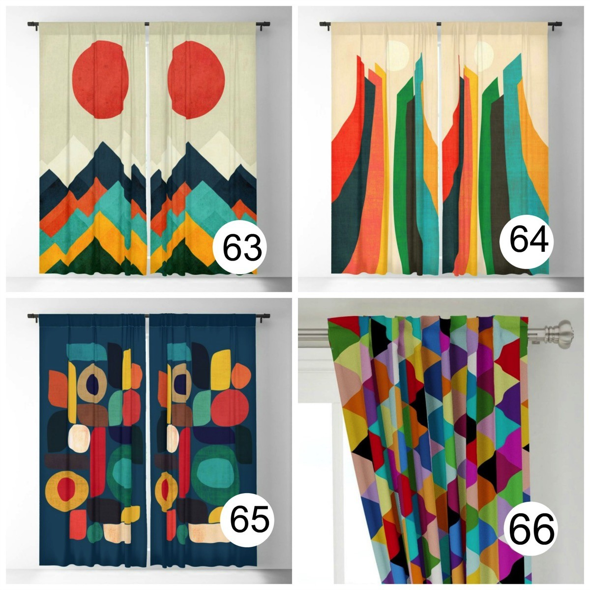 Colorful window curtains abstract bright