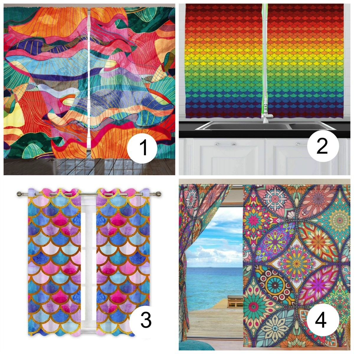 Colorful window curtains abstract design
