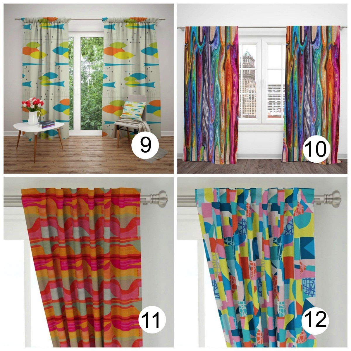 Colorful window curtains bright