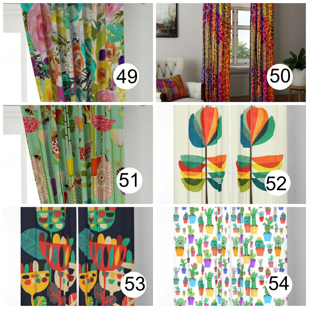 Colorful window curtains flower prints