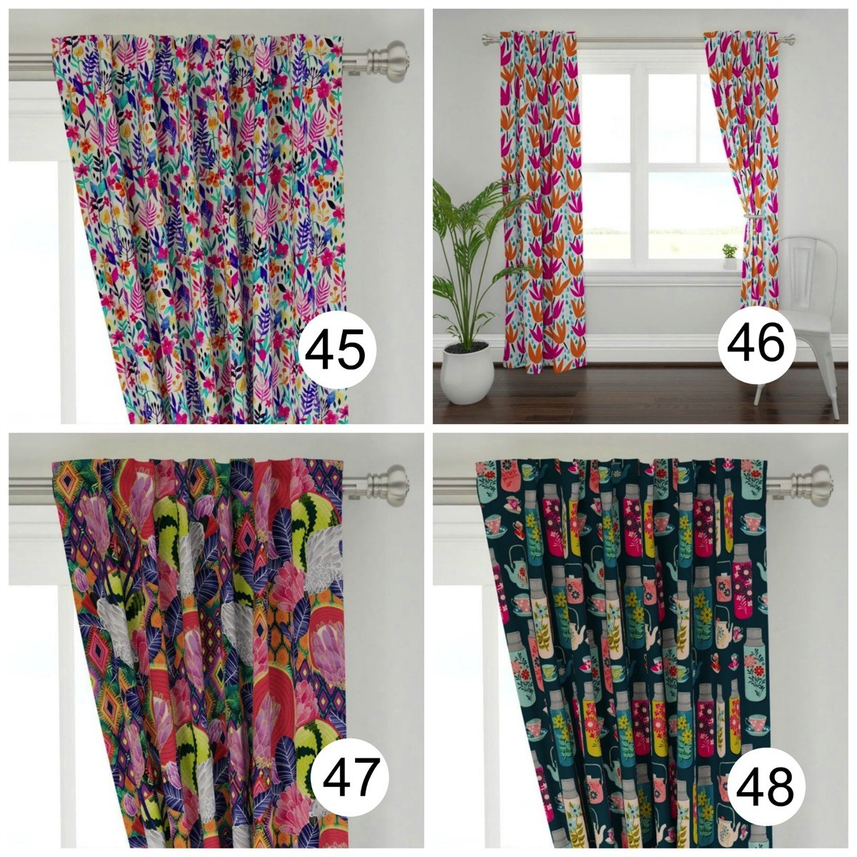 Colorful window curtains flowers