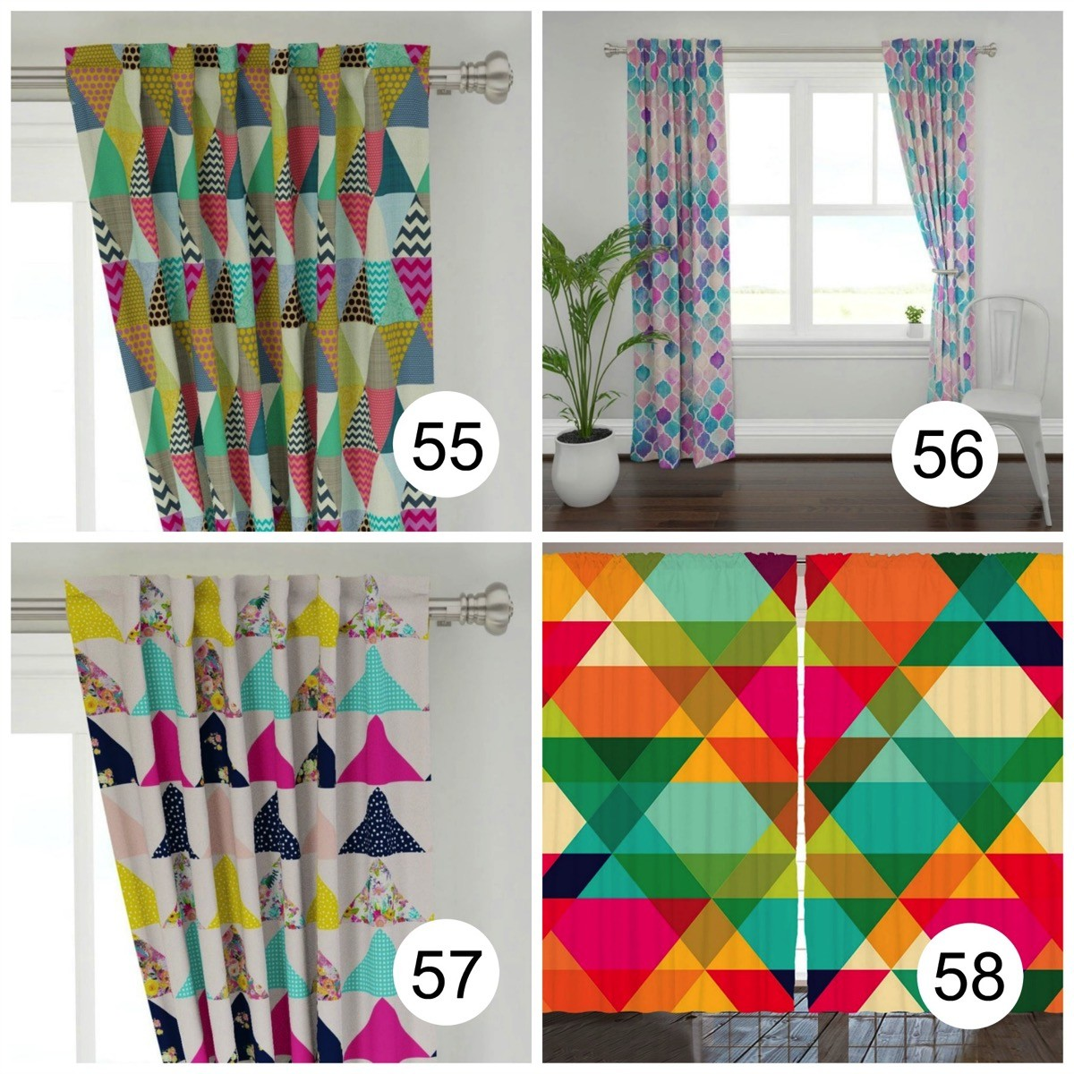 Colorful window curtains geometric