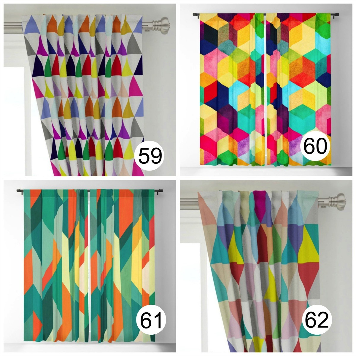 Colorful window curtains geometric bold