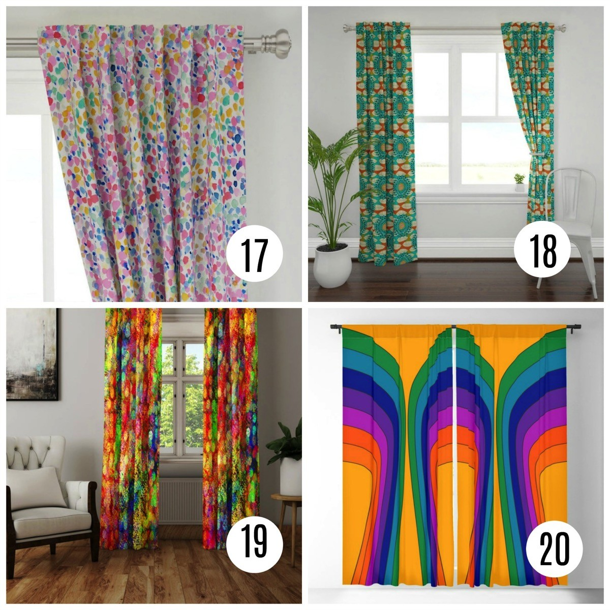 Colorful window curtains maximalist