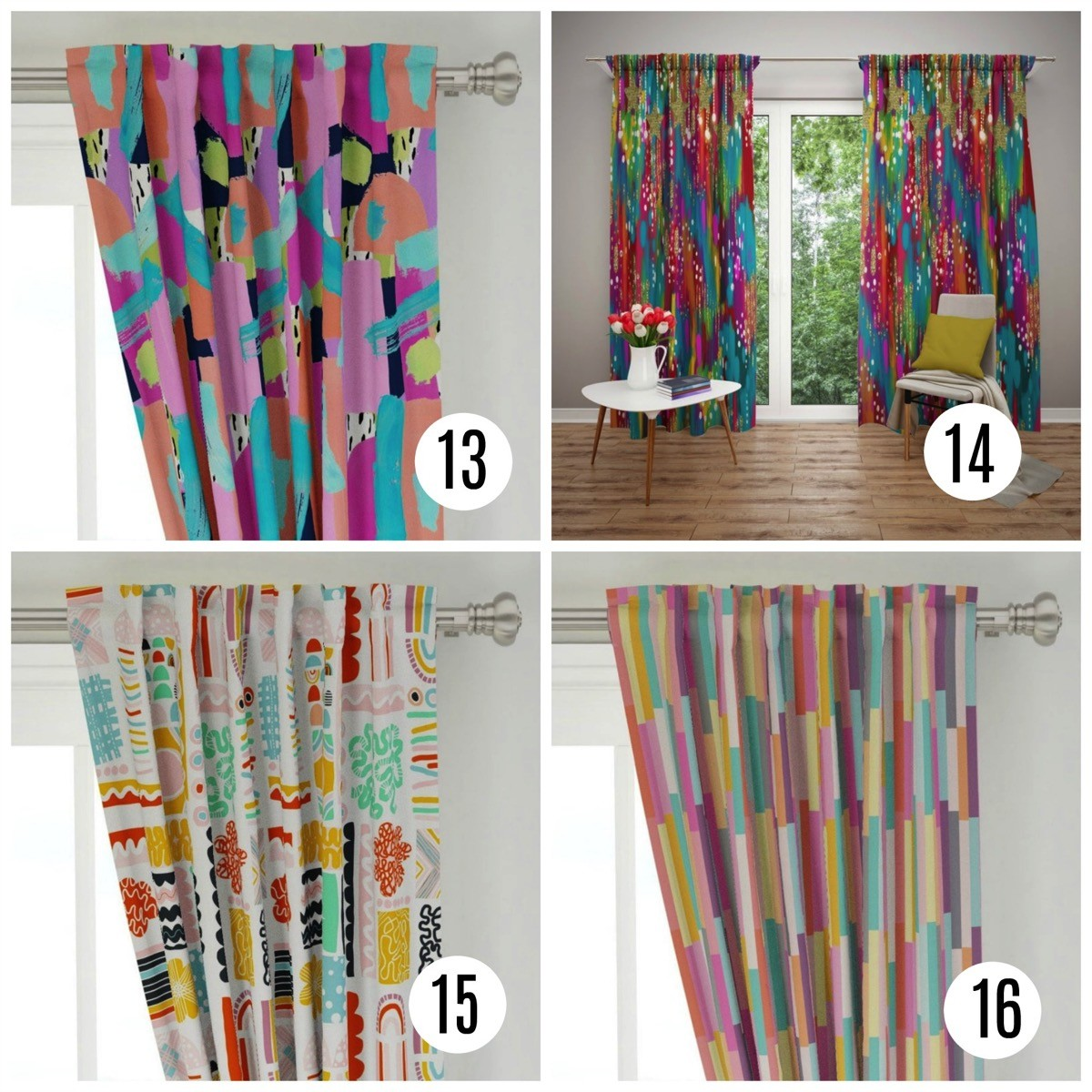 Colorful window curtains painted