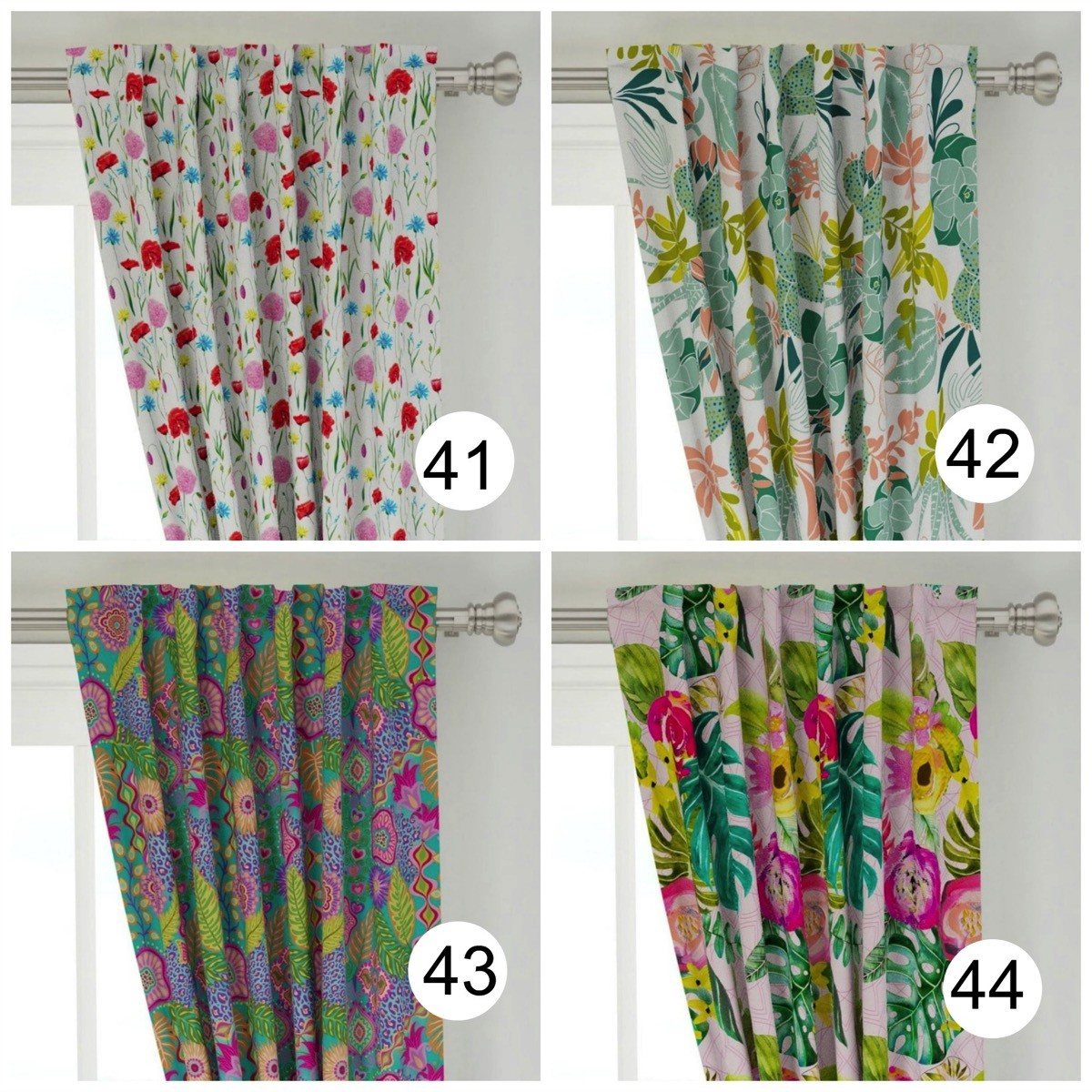 Colorful window curtains pretty floral