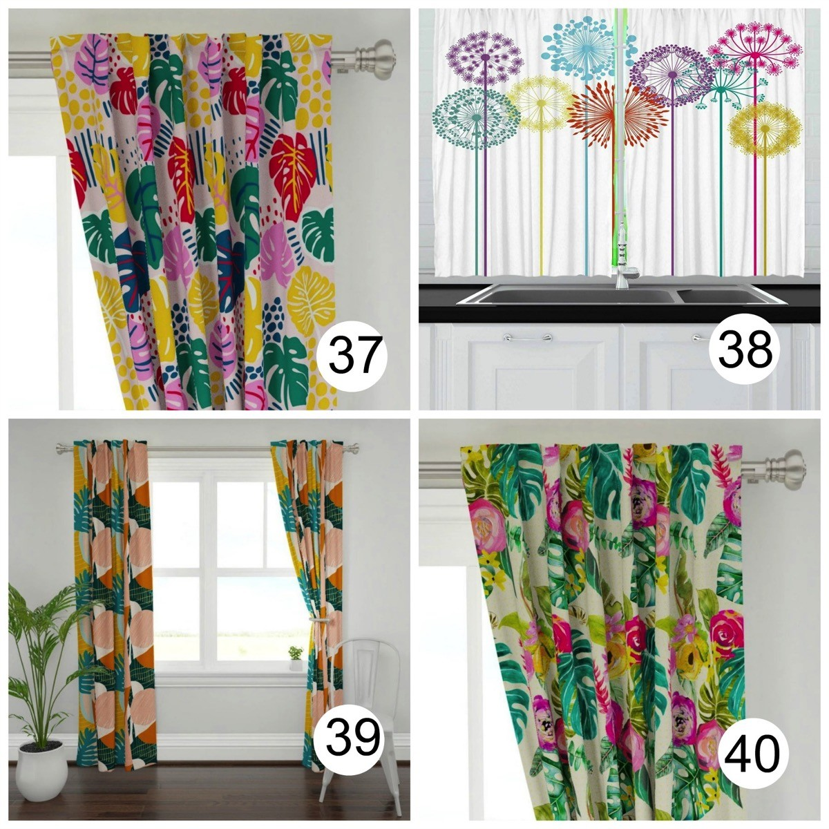 Colorful window curtains tropical