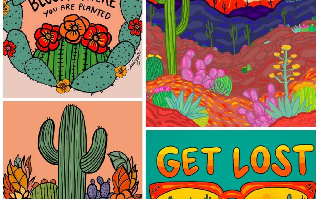 Revealing the Magic of a Colorful Desert Landscape One Cactus at a Time, Featured Artist Annotated Audrey