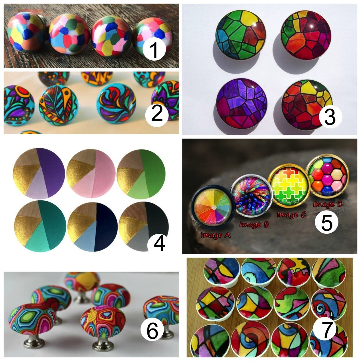 Abstract colorful dresser knobs