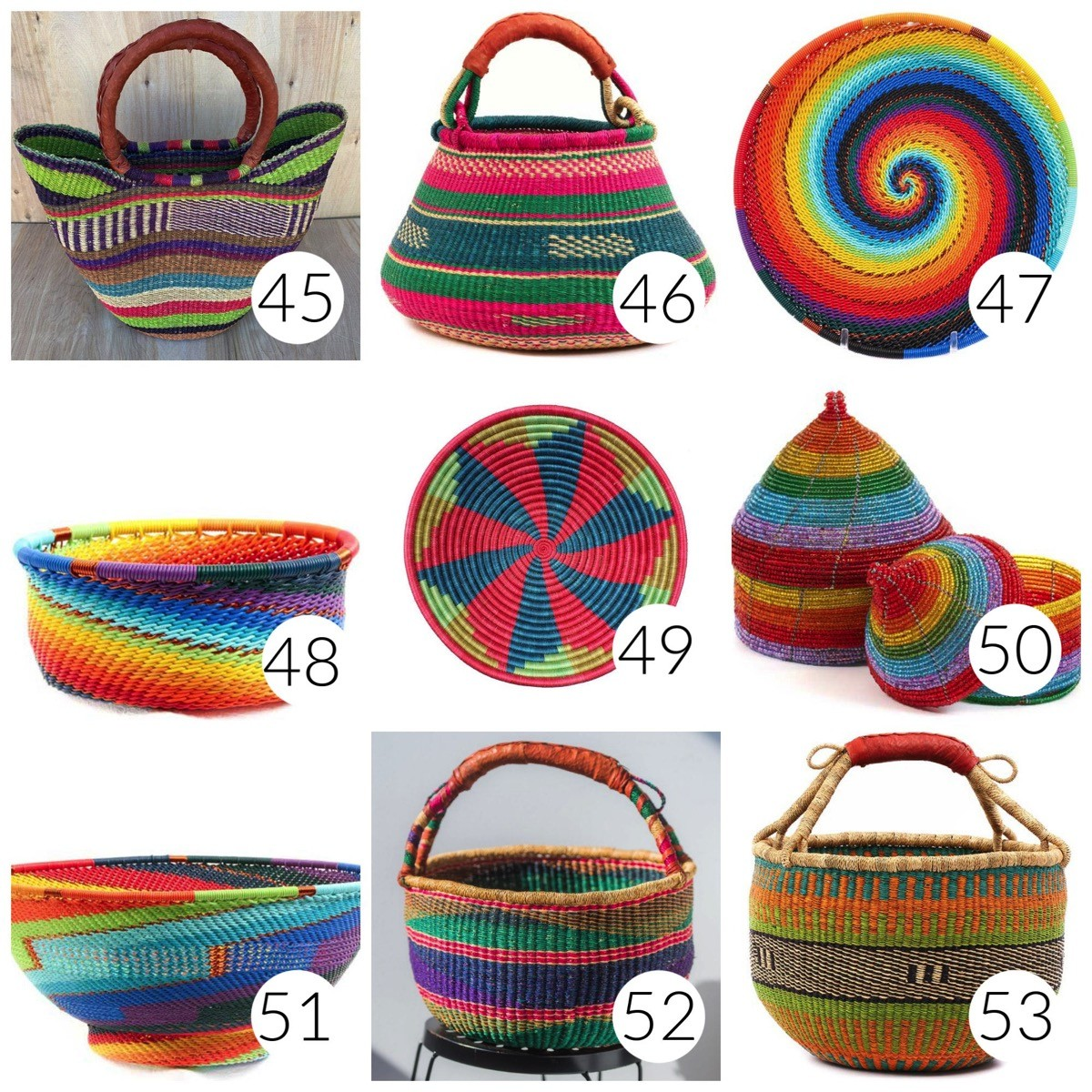 Bold colorful vibrant baskets