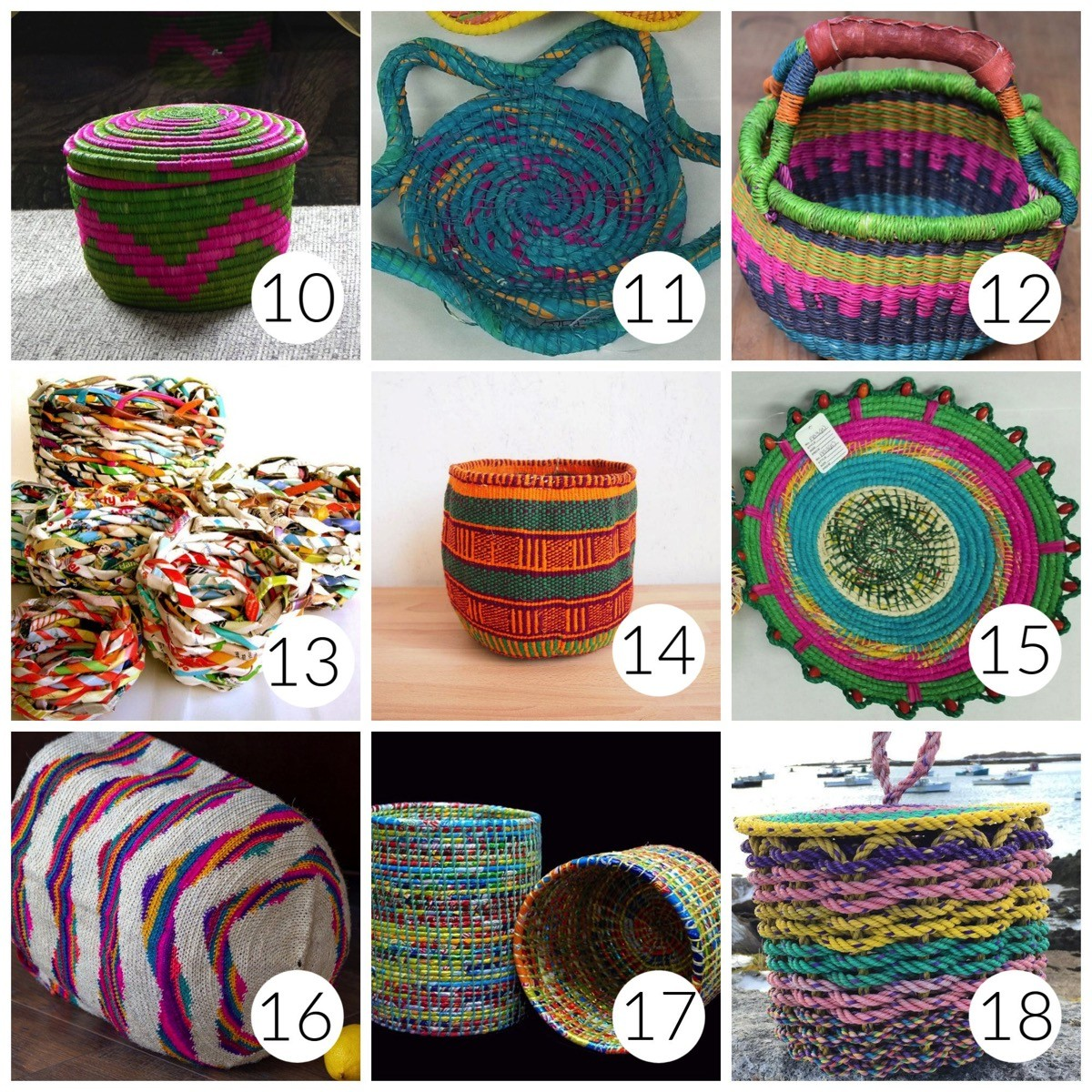 Colorful baskets for home decor
