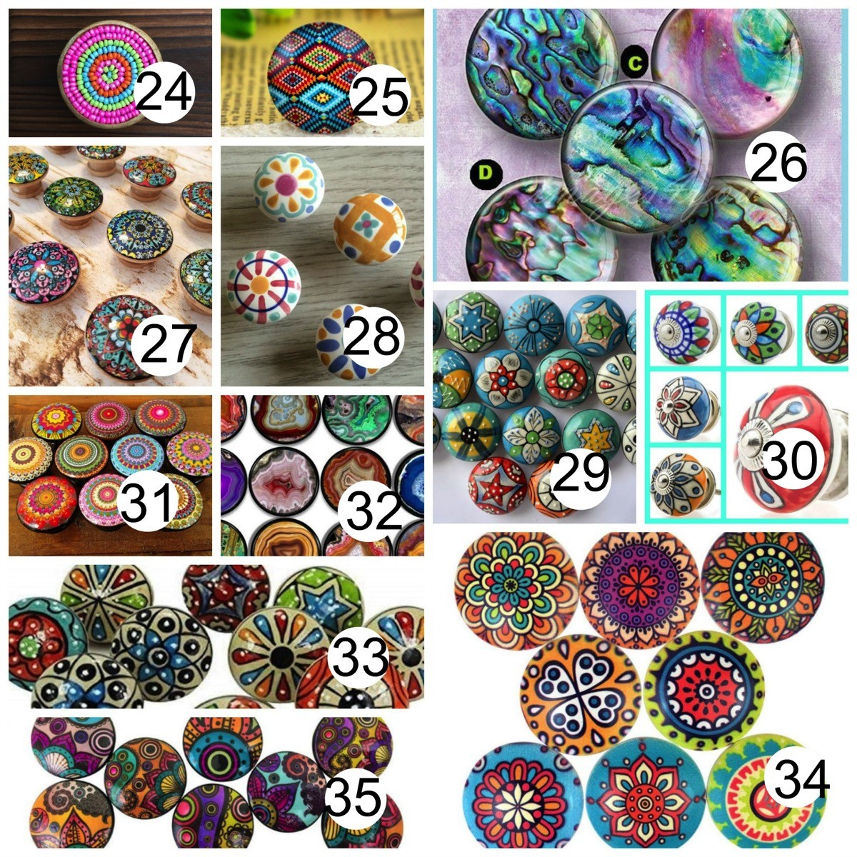 Colorful boho drawer knobs