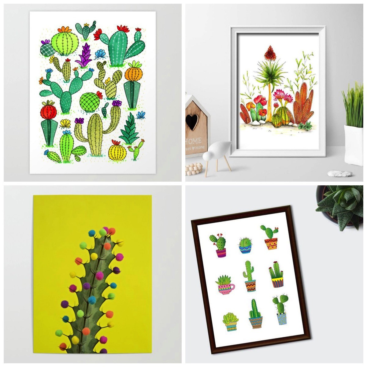 Colorful cactus wall art