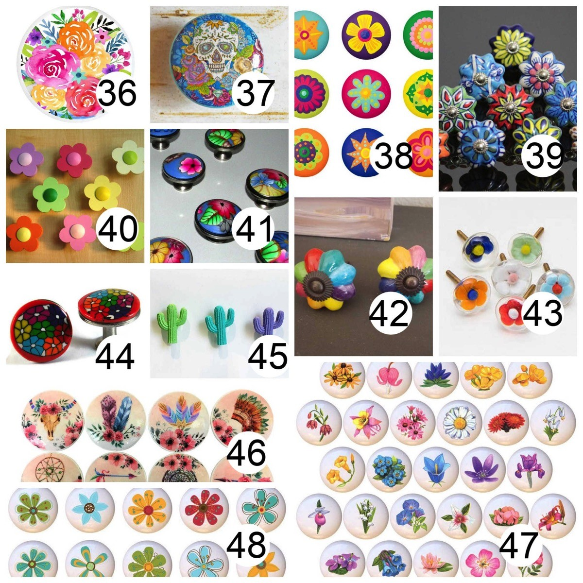 Colorful flower cabinet knobs
