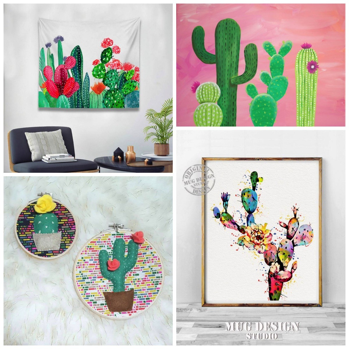 Colorful fun cactus lover gift