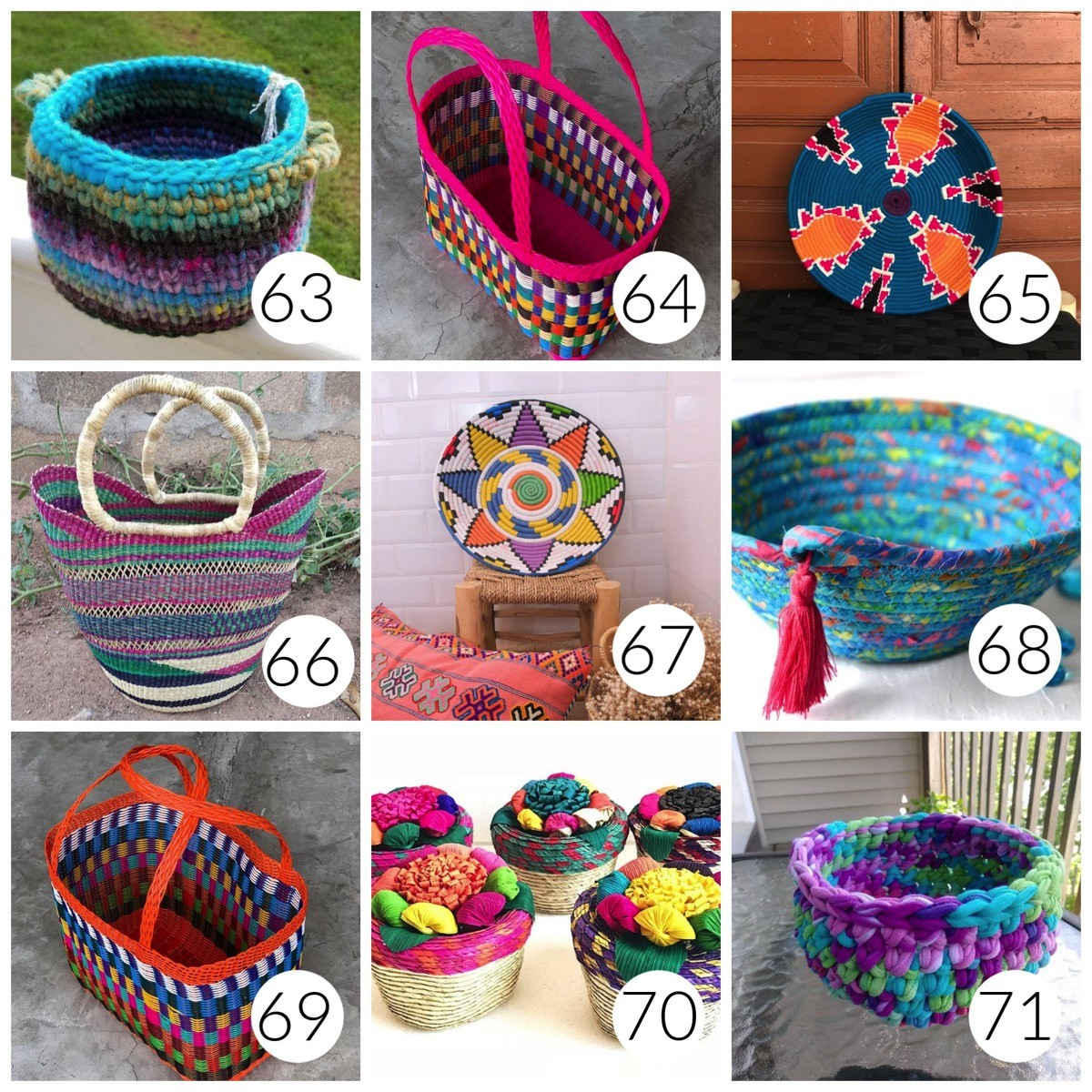 Colorful woven baskets for house