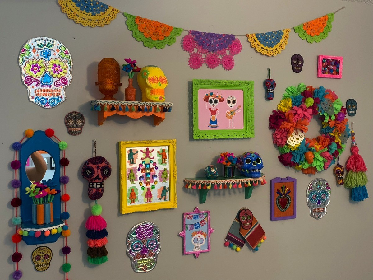Colorful dia de los murtos gallery wall