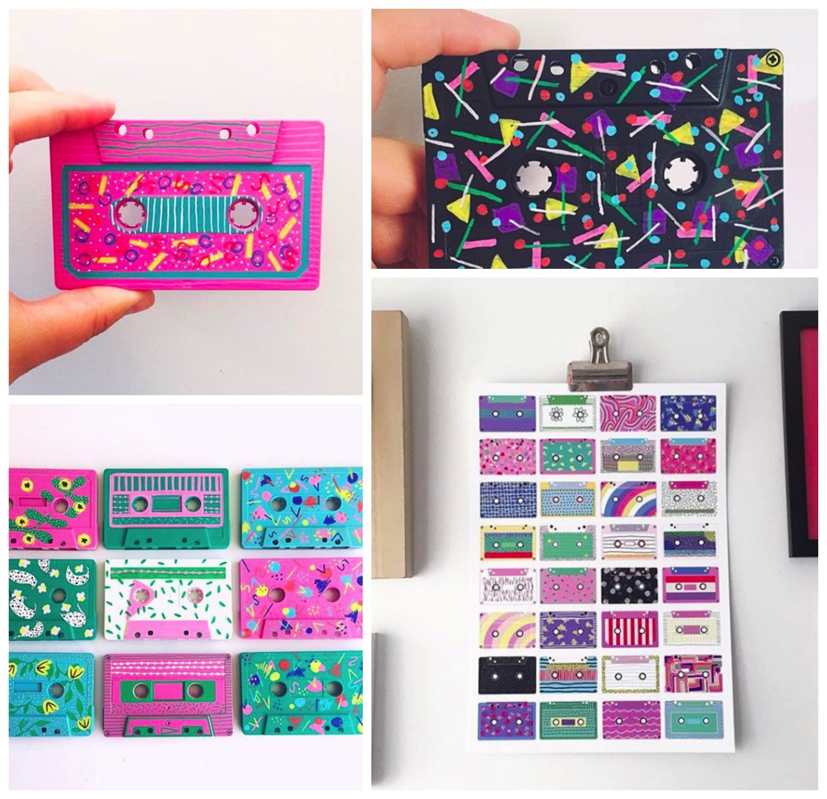 Retro colorful cassette tape art