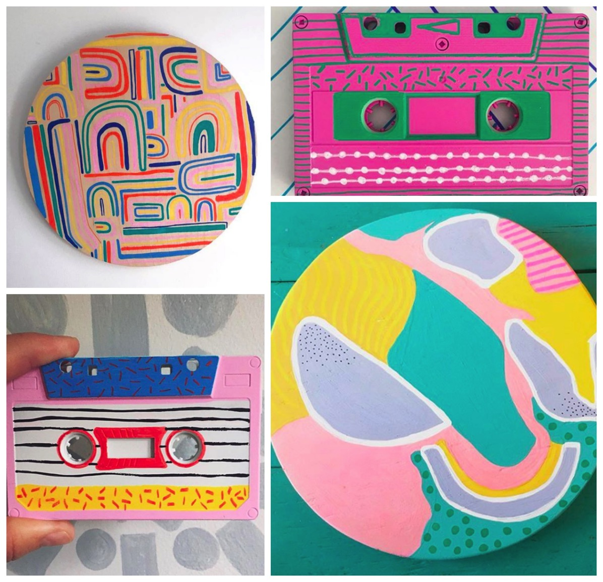 Wooden flamingo retro cassette tapes colorful
