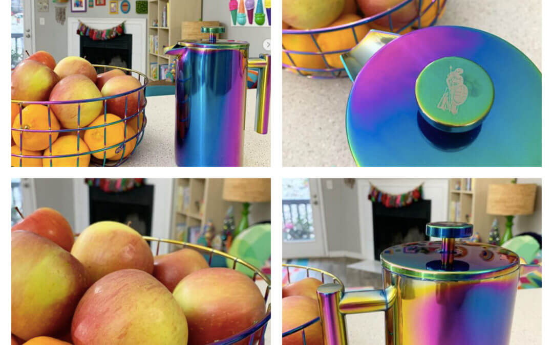 Lady Ironside's Colorful Rainbow Coffee Press and Matching Fruit Basket