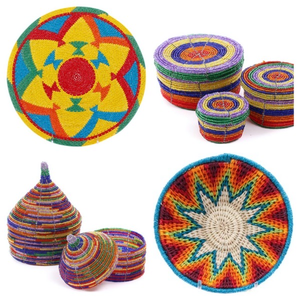 Baskets of africa fair trade colorful unique baskets